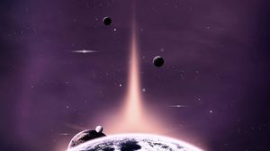 Preview wallpaper planet, ray, light, stars