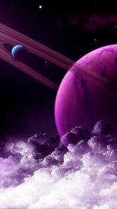 Preview wallpaper planet, ring, purple, clouds, space