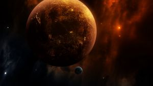 Preview wallpaper planet, satellite, open space, cosmos, universe, galaxy