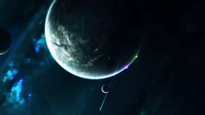 Preview wallpaper planet, satellite, open space, space, universe, galaxy, stars