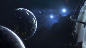 Preview wallpaper planet, satellite, orbit