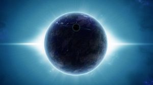 Preview wallpaper planet, satellite, rays, light, radiance