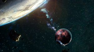 Preview wallpaper planet, satellite, space, asteroid