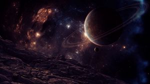 Preview wallpaper planet, satellite, space, stars