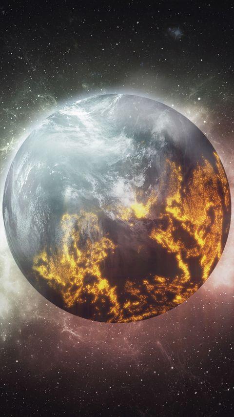 480x854 Wallpaper planet, shine, atmosphere, stars, space