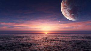 Preview wallpaper planet, space, sea, horizon
