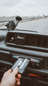 Preview wallpaper player, cassette, hand, radio, audio