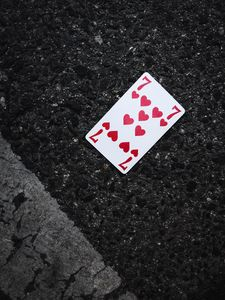 Preview wallpaper playing card, card, suit, hearts, asphalt