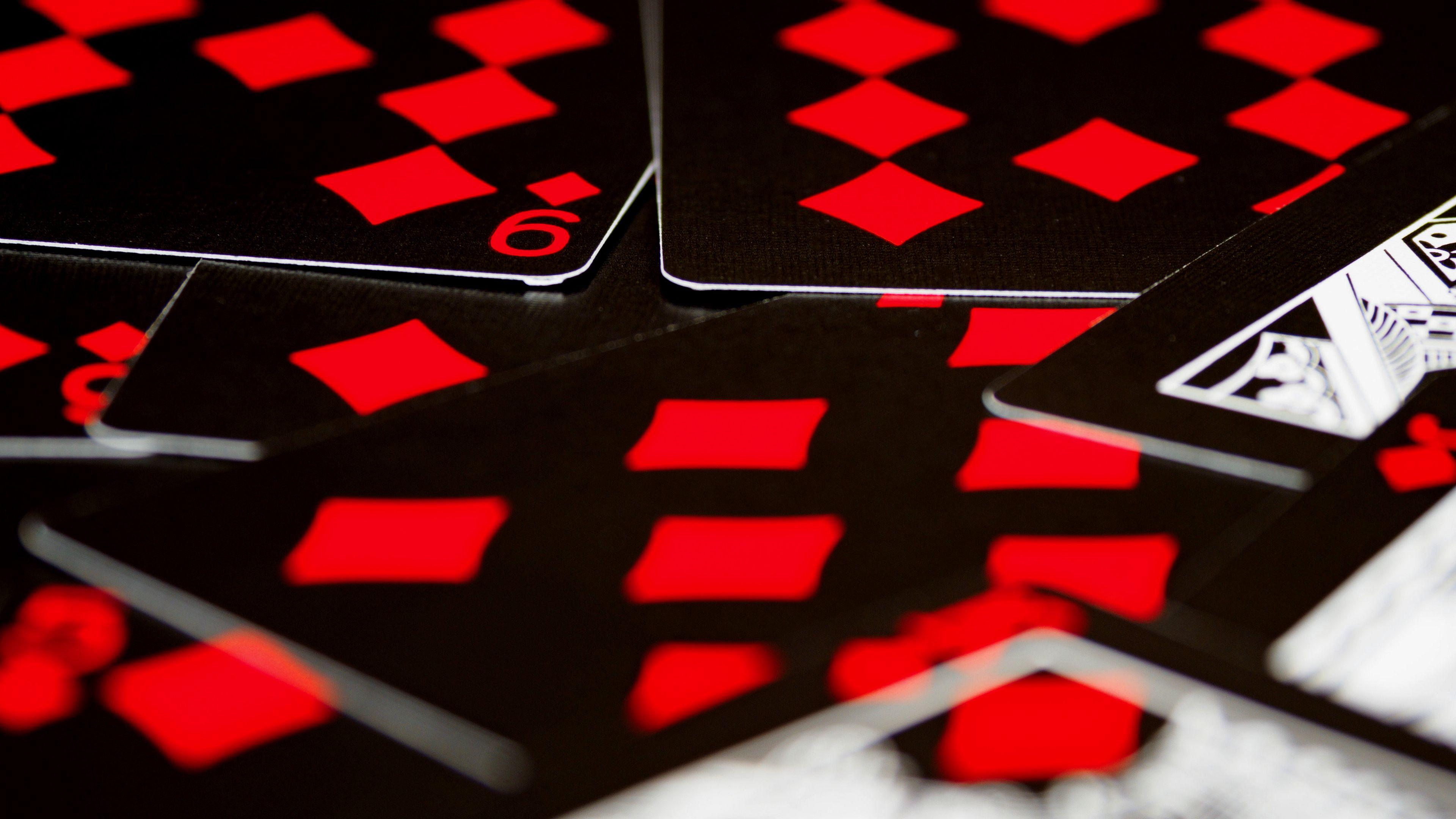 3840x2160 Wallpaper playing cards, game, gaming, red, black