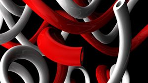 Preview wallpaper plexus, shape, twisted, curved, red, white