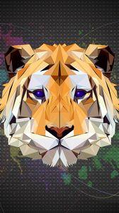 Preview wallpaper polygon, tiger, art, graphics