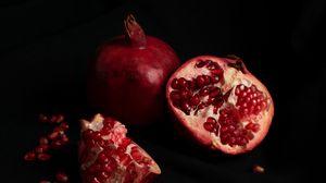 Preview wallpaper pomegranate, fruit, dark, black