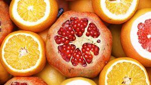 Preview wallpaper pomegranate, orange, grapefruit, fruit, citrus