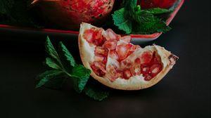 Preview wallpaper pomegranate, slice, fruit, still life, leaves