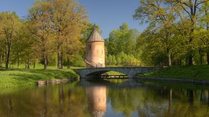 Preview wallpaper pond, bridge, construction, trees, tower, ladder