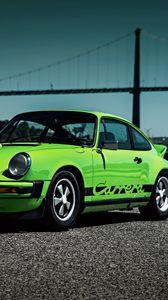 Preview wallpaper porsche, 911, carrera, 1974, green, side view