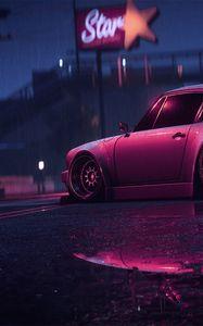 Preview wallpaper porsche 911 carrera rsr, porsche, sports car, old, tuning, night, neon