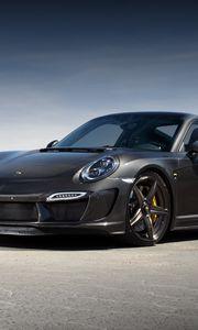 Preview wallpaper porsche, 911, turbo, gtr, carbon edition, 991, black
