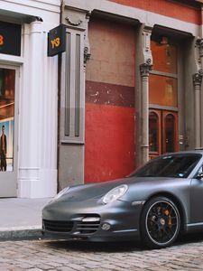 Preview wallpaper porsche, car, gray, parking, street
