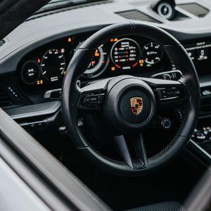 Preview wallpaper porsche, car, gray, steering wheel, control, salon