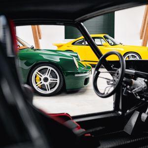 Preview wallpaper porsche, car, green, steering wheel, salon
