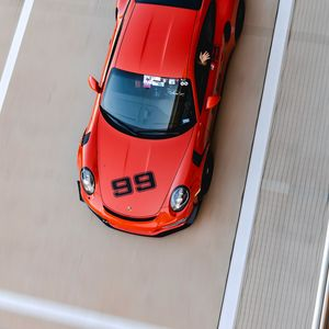 Preview wallpaper porsche, car, red, track, aerial view