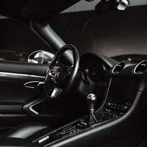 Preview wallpaper porsche, car, salon, steering wheel, black