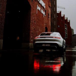 Preview wallpaper porsche, car, sports car, gray, rear view