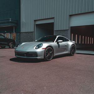 Preview wallpaper porsche, car, sports car, gray, side view