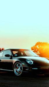 Preview wallpaper porsche, cars, city, sunset