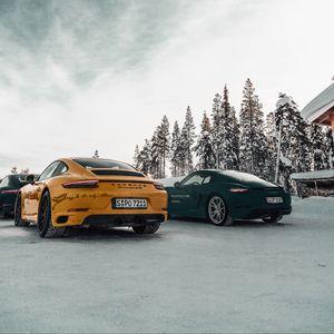 Preview wallpaper porsche, cars, sports car, snow, racing