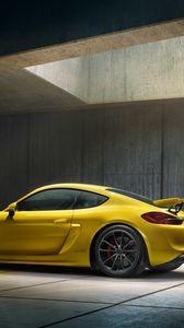 Preview wallpaper porsche, cayman, gt4, yellow, side view