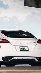 Preview wallpaper porsche, panamera, rear view, white, auto