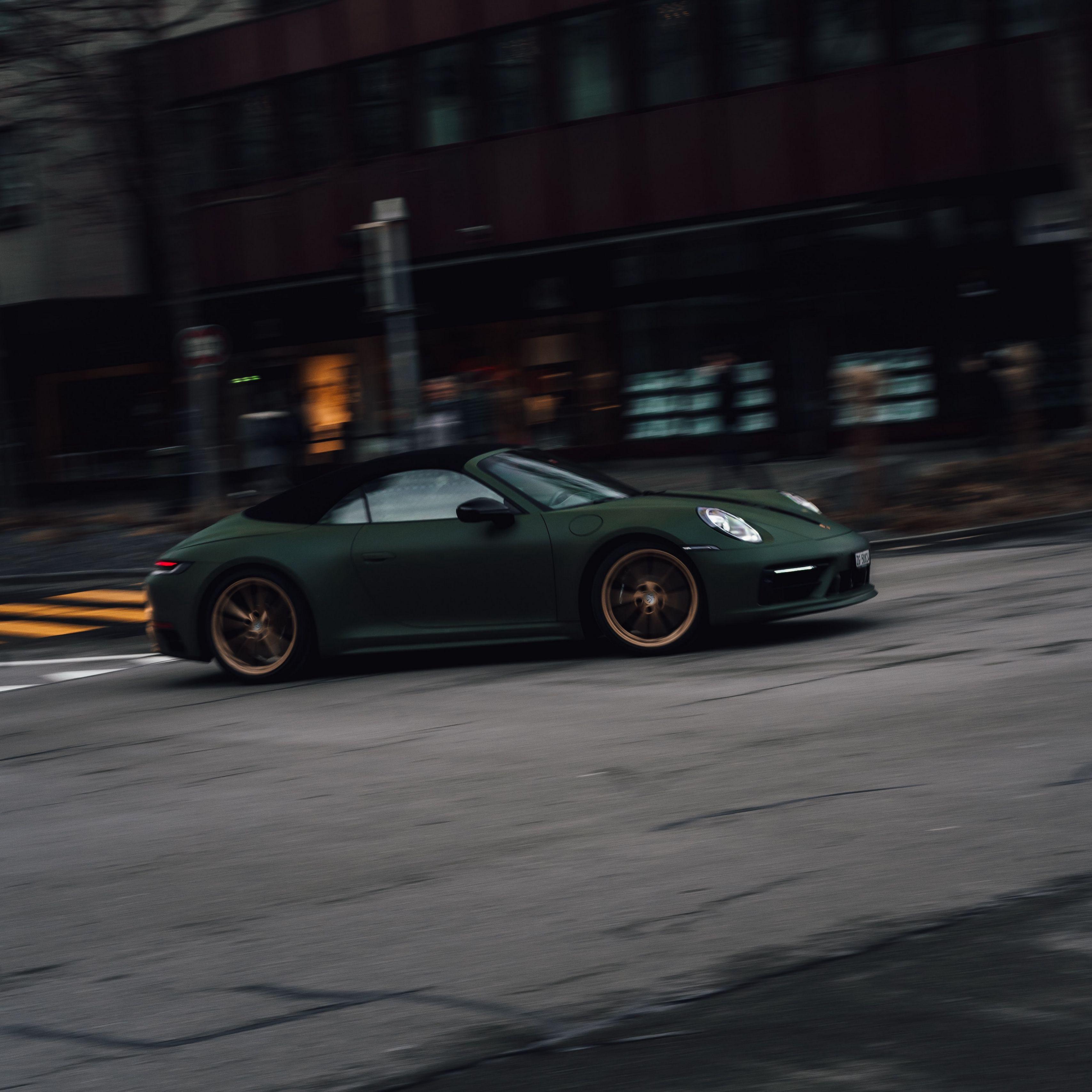 3415x3415 Wallpaper porsche, sports car, car, green, street, speed