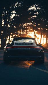 Preview wallpaper porsche, sports car, rear view, black, sunlight