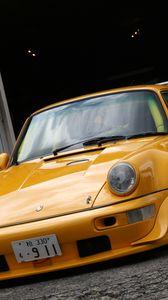 Preview wallpaper porsche, yellow, turbo, martini, 911