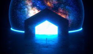 Preview wallpaper portal, glow, bright, silhouette, dark