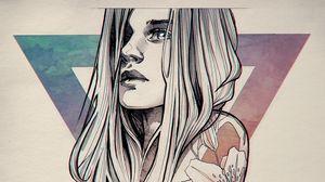 Preview wallpaper portrait, art, girl, face, triangle