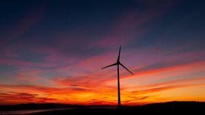 Preview wallpaper power station, wind, vane, sunset