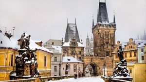 Preview wallpaper prague, czech republic, winter, buildings, people