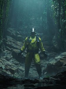Preview wallpaper protective suit, gas mask, cave, rocks