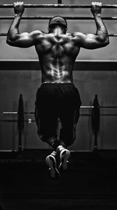 Preview wallpaper pull-ups, man, workout, bw, muscle, athlete, horizontal bar