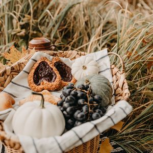 Preview wallpaper picnic, holiday, pumpkin, grapes, cookies, basket, grass