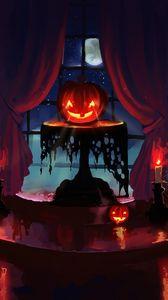 Preview wallpaper pumpkin, halloween, art, candles, night