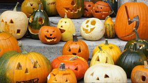 Preview wallpaper pumpkin, set, halloween, holiday, ladder