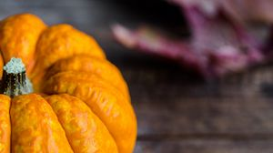 Preview wallpaper pumpkin, vegetable, table, autumn