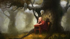 Preview wallpaper pupil, idea, lamp, tree, thoughts, art
