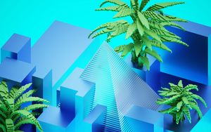 Preview wallpaper pyramid, palm trees, figures, 3d