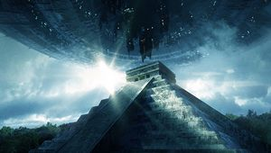Preview wallpaper pyramid, ufo, aliens, visit, contact, extraterrestrial, civilization