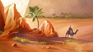 Preview wallpaper pyramids, desert, camel, art